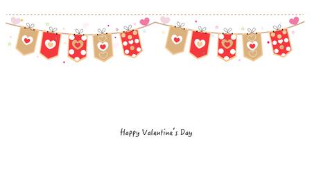 romance: Valentine Day hearts decorative banner vector