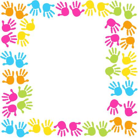 Bébé empreintes de mains vecteur de fond frame Banque d'images - 50327214
