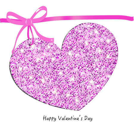 Happy Valentine Day card with sparkling heart vector background