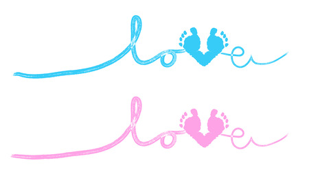 baby footprint: Baby foot prints baby shower greeting card with heart Illustration