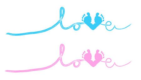 huella pie: Huellas de tarjetas de felicitación de bienvenida al bebé del bebé con el corazón