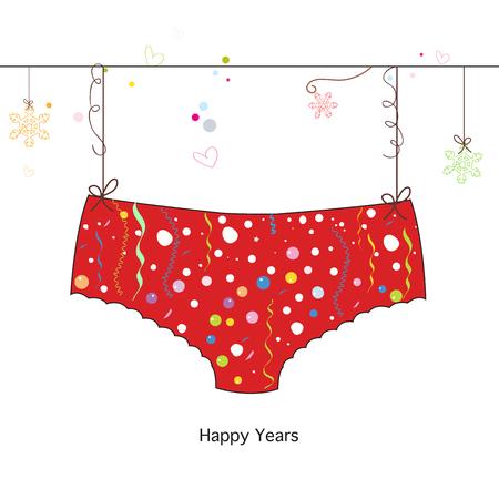 Merry christmas red panties hanging greeting card vector happy years