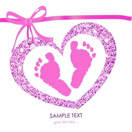 Bébé empreintes baby shower carte de voeux avec le coeur