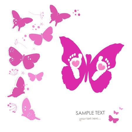 Baby pasgeboren baby voet prenten en vlinder wenskaart Stock Illustratie
