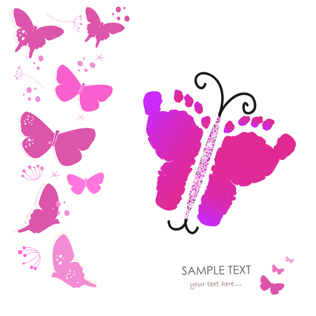 baby foot: Baby foot prints and butterfly background vector greeting card Illustration