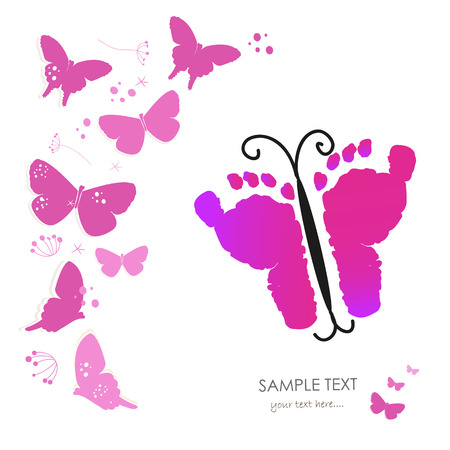 baby foot: Baby foot prints and butterfly greeting card vector