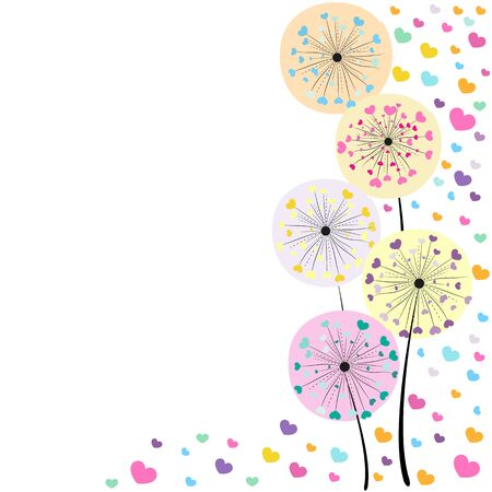 dandelion abstract: Abstract colorful heart vector background dandelion spring time