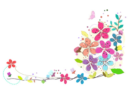 Spring time flowers colorful design background vector illustration border