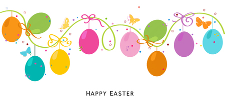 Colorful Easter EGSS border design vector