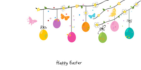 Happy easter eggs silhouette, bunny, chick greeting card vector