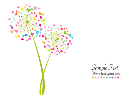 Colorful abstract vector background dandelion heart