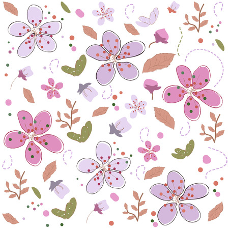 Spring time flowers colorful design background vector illustration border