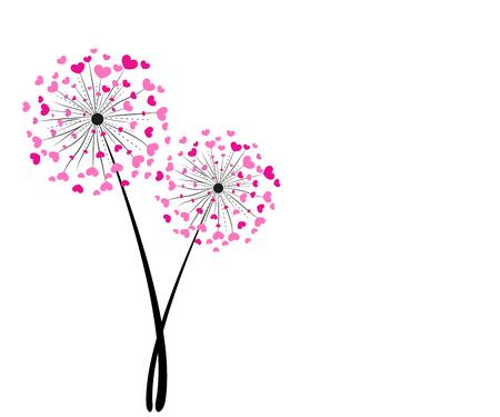 dandelion abstract: Pink abstract heart dandelion vector background