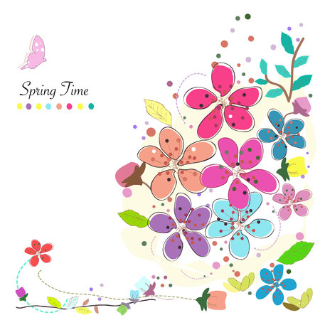 spring: Spring time flowers background vector colorful abstract doodle. Illustration