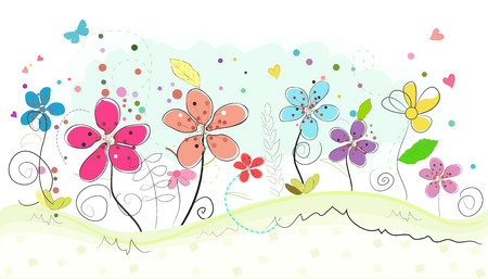 spring time: Spring time colorful abstract doodle flowers vector background Illustration