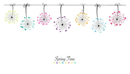 dandelion abstract: Colorful abstract love hanging banners background dandelion in spring time