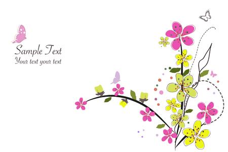 Spring time pink flowers border design background vector illustration Ilustrace
