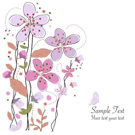 Spring time bloemen, pruim vector illustratie wenskaart Stock Illustratie