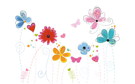 cute flowers: Spring time background vector abstract decorative floral border