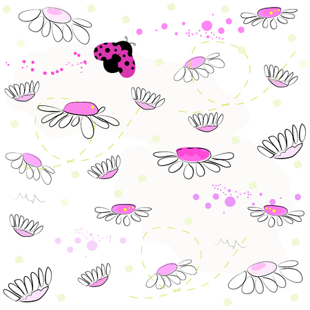Daisy field and lady bird spring pattern vector background
