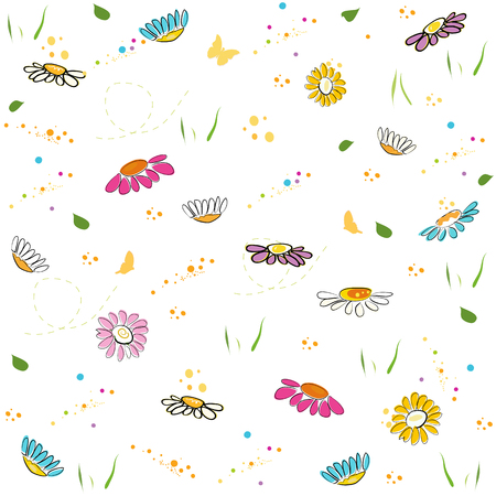 daisy field: Colorful daisy field pattern vector background