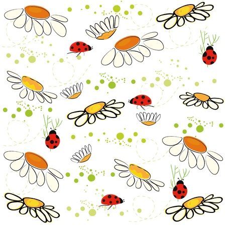 lady bird: Daisy field and lady bird spring pattern vector background