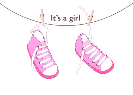 baby shoes: Baby girl arrival greeting card. Baby shoes vector background Illustration