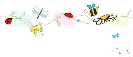vector de la bandera de resorte encantador colorido. Mariposa, mariquita, libélula, abeja de vectores de fondo Ilustración de vector