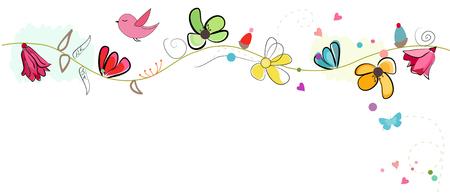Encantador colorido vector banner de primavera
