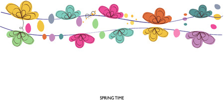 spring time: Colorful spring time abstract decorative floral border vector background