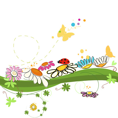 chamomile flower: Colorful spring time vector background