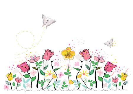 abstract flowers: Abstract colorful spring flowers Illustration