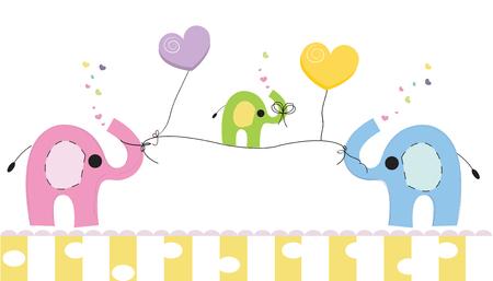 귀여운 코끼리와 아기 코끼리입니다. 아기 샤워 인사말 카드입니다. 신생아 벡터 배경