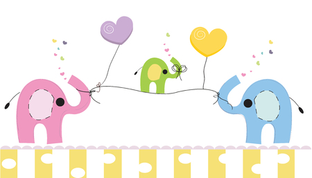 Cute elephants and baby elephant. Baby shower greeting card. Newborn baby vector background Illustration