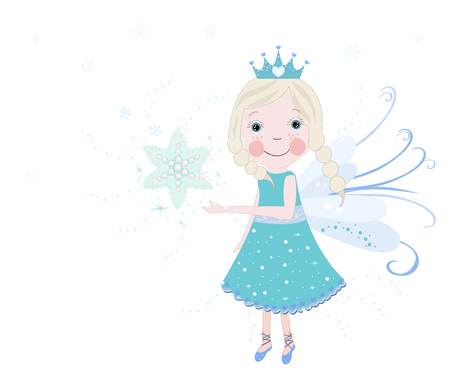 Cute snow fairy tale vector background