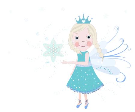 Cute snow fairy tale vector background