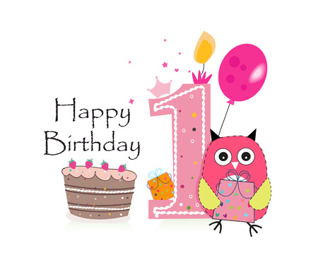 First birthday greeting card. Cute pink owl, balloon and birthday cake vector background