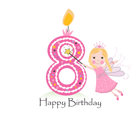Eigther Happy birthday candle. Baby girl greeting card with fairy tale vector background Ilustração