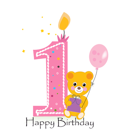 first birthday: Happy first birthday candle. Baby birthday greeting card with teddy bear vector background Illustration