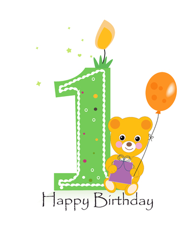 Happy first birthday candle. Baby birthday greeting card with teddy bear vector Illustration