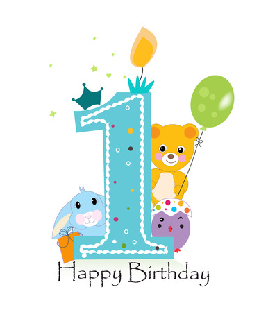 Happy first birthday candle. Baby boy greeting card with bunny, chick and teddy bear vector Illustration