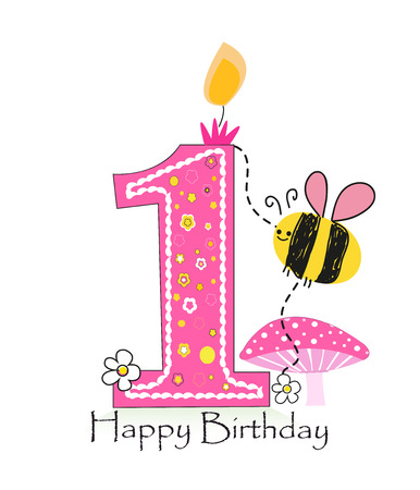 Happy first birthday candle. Baby girl greeting card with bee and daisy vector background