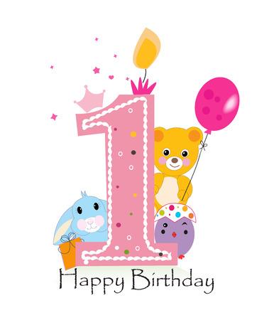 Bonne première bougie d'anniversaire. Bébé carte fille de voeux avec le lapin, poussin et ours en peluche vecteur Banque d'images - 55679459