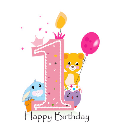 Happy first birthday candle. Baby girl greeting card with bunny, chick and teddy bear vector Illustration