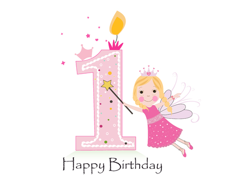 Happy first birthday candle. Baby girl greeting card with fairy tale vector background Vectores