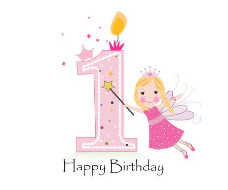 Pierwsze Happy Birthday Candle. Dziewczyna karta z pozdrowieniami z bajki wektora tle