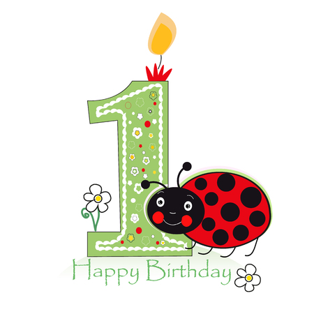 Happy second birthday candle. Baby greeting card with daisy and ladybird vector Illustration