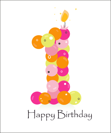 Happy first birthday card with bubble vector background