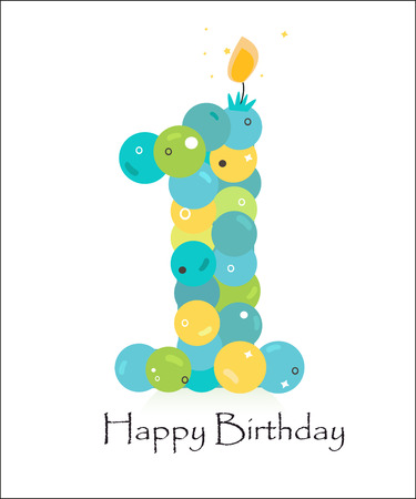 Happy first birthday card with bubble vector background Stock Vector - 55679485