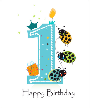 funny baby: Happy first birthday greeting card vector baby girl with funny ladybird